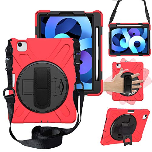 CWNOTBHY Funda para iPad Air 4 de 11 pulgadas 2020, resistente a prueba de golpes con correa de mano para iPad Air 4ª generación 10.9 pulgadas 2020/iPad Pro 11 pulgadas 2020 y 2018 (rojo)