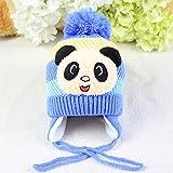 Big Bargain Store Baby Boys Girls Winter Beanie Hat Crochet Knitting Hat Orejeras Sombrero Costuras Color Algodón Warm Wool Hat Pompom Cap Earflaps Outdoor Ski Snowboard Cap Blue