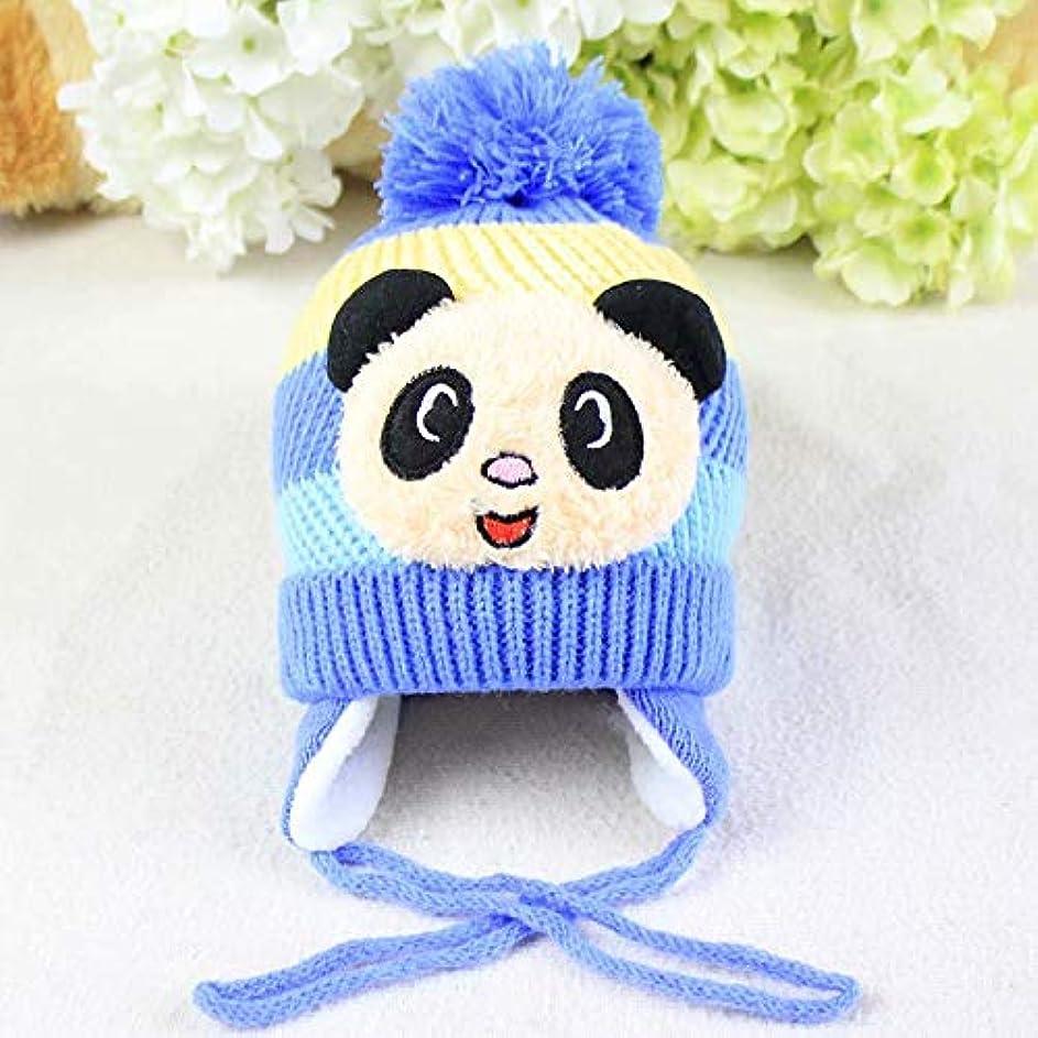 好奇心ラウンジ十代Xinhengchen ベビーボーイズガールズ冬のビーニーハット かぎ針編みのニット帽子イヤーマフハット ポンポンキャップイヤーフラップ屋外スキースノーボードキャップ ステッチカラーコットンウォームウールハット Blue