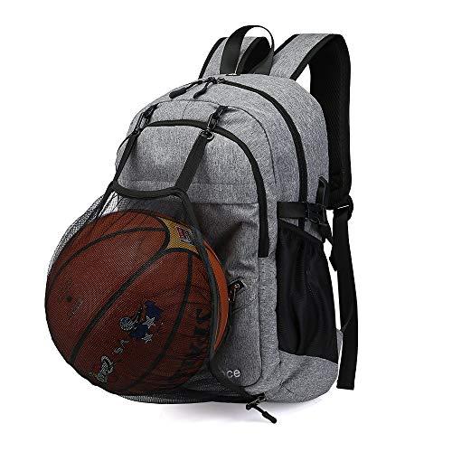 Adorence Basketball-Rucksack (mit USB-Ladeanschluss) - Herrenrucksack mit Ballfach (für 15,6-Zoll-Laptop)