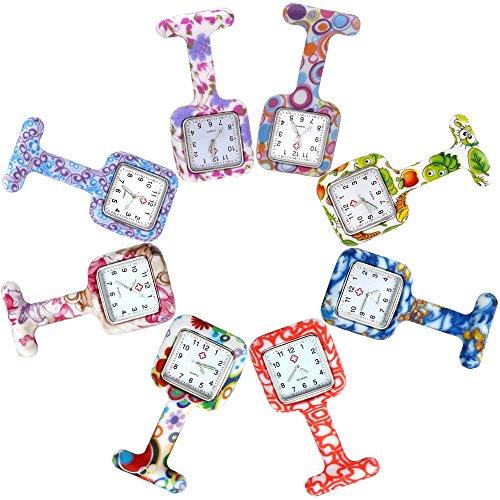 JSDDE - Set di 8 orologi quadrati da infermiere/a FOB, in silicone, unisex