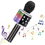 WULAU Micrófono inalámbrico Bluetooth Karaoke portátiles Altavoz Máquina de Karaoke con Luces LED Que Bailan, Reproductor de KTV para el hogar Dispositivos compatibles para Fiestas/Canto de niños