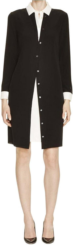 Magaschoni Womens Collared colorblock TShirt Dress Black 2