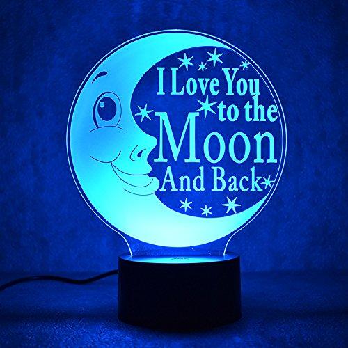 DOMELI Lámpara de Mesa romántica 3D, luz de Noche LED, Dormitorio para niños Lámpara de Noche de Noche, lámpara de Escritorio de 7 Colores, Regalo de Pareja para el Otro de Amor