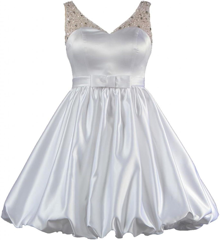 ANTS Women's V Neck Bead Sheer Strap Short Wedding Dresses for Bride