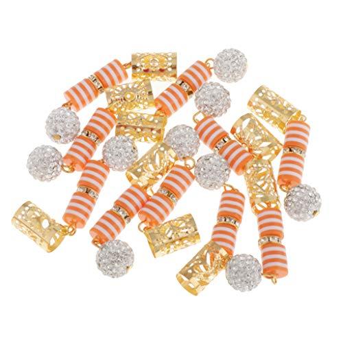 MagiDeal 10 Pcs/Set Dreadlocks Perles Clip Pendentif Bricolage Cheveux Tresses Embellissements - Orange