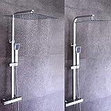 Set doccia dal design moderno con sistema doccia con soffione a pioggia e doccetta per doccia con soffione in rame