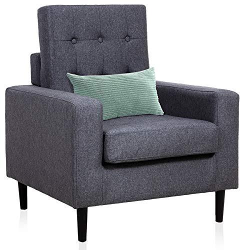 Sedia con braccioli quadrati in tessuto per soggiorno, camera da letto o appartamenti, colore grigio scuro