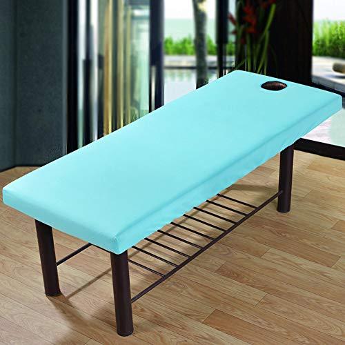 Supewold Massage-Bettbezug mit Gesichts-Atemloch, Polyester, elastisch, durchgehendes elastisches Band, für Schönheitssalon, Spa, Kosmetik, 70 x 190 cm, Blau