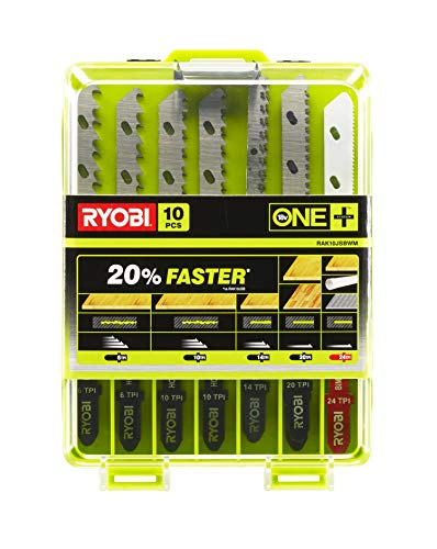 Preisvergleich Produktbild Ryobi Stichsägenblatt Set 10-tlg. RAK10JSBWM (Sägeblatt-Set für Holz,  Kunststoff und Metall,  für Ryobi Stichsägen,  Universalaufnahme) 5132002811