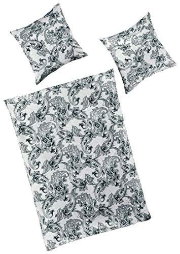 Bierbaum Smail by Mako-Jersey Bettwäsche Paisley 3225 anschmiegsame Premium Qualität 155 cm x 220 cm Graphit - Silber-grau