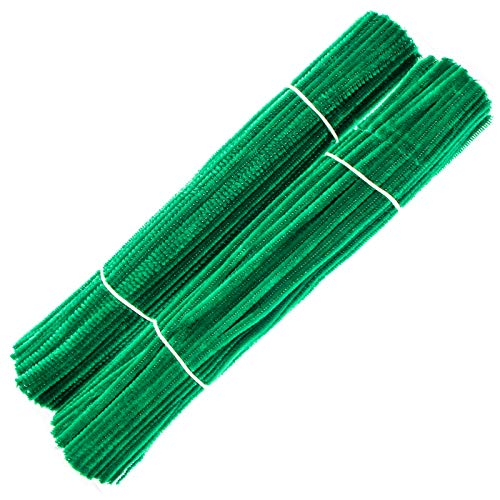 Waycreat 200 Pieces Pipe Cleaners Dark Green Chenille Stem for DIY Art Craft Decorations (6mm x 12 Inch)