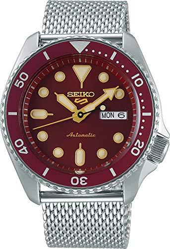 Seiko 5 Sports Suits Orologio Analogico Automatico Uomo con Cinturino in Acciaio Maglia Milanese SRPD69K1, Rosso, 9K1