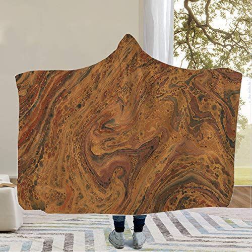 YUNSW 3D Marble Gilded Pattern Hooded Blanket, Portable Sofa Blanket For All Seasons, Super Soft And Comfortable Large Living Room Blanket