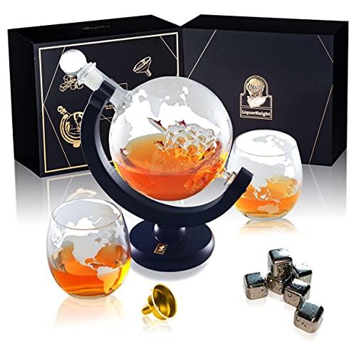 LiquorKnight Globe Whiskey Decanter Set/Hand-Blown Lead-Free Glass/Wooden Stand/Liquor Dispenser Bar Set with 2 Glasses…