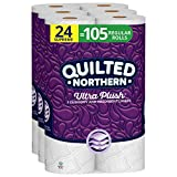Quilted Northern Ultra Plush Toilet Paper, 24 Supreme Rolls, 24 = 105 Regular Rolls, 3 Ply Bath Tissue,8 Count (Pack of 3)