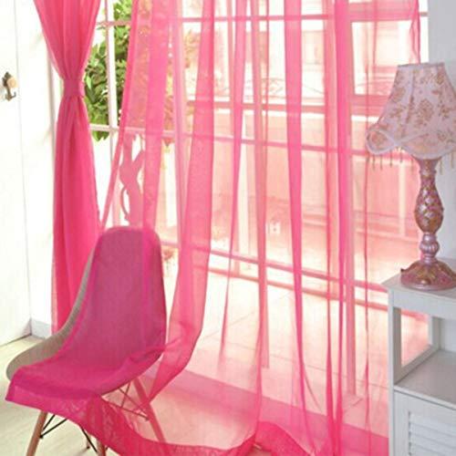 Greatangle Mode einfache einfarbige Tüll Tür Fenster Vorhang waschbar drapieren Panel Schiere Schal Volants durchscheinendes Design rosa rot