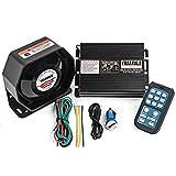YHAAVALE 920 Car Amplifier Police Siren & Metal Ultra Slime Octagon Flat Speaker,DC12V 100W Multi-Tones Wireless Remote Control with Mic Loudspeaker Emergency Electronic PA System