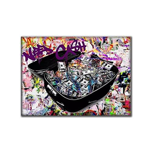 Mmpcpdd Colorato Valigia Soldi Tela Pittura Poster E Stampe Quadros Wall Art Immagini per Soggiorno Decorazione della Parete Cuadros-60X80Cmx1 No Frame