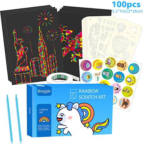 100 Piece Scratch Paper Art Set with10 Drawing Stencils 2 Blue Styluses, Rainbow Magic Note Sheet Boards for Easter Halloween...