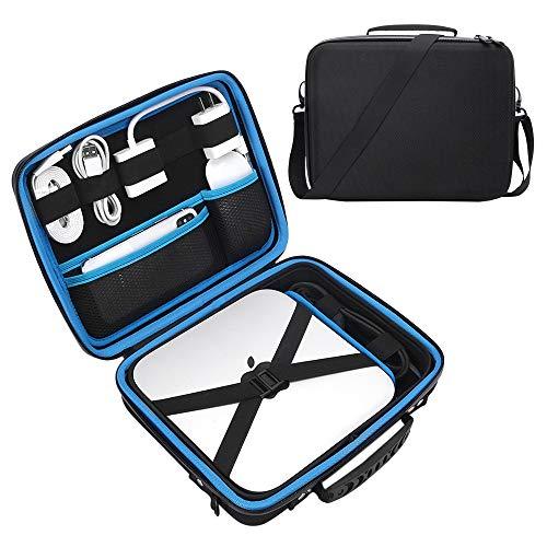 Esimen Hard Travel Case for Apple Mac Mini 3.6GHz 2.8GHz 2.6GHz,Mouse, USB-C Digital Multiport Adapter Charger Data Cable Storage Bag Carry Bag Protective Box Handbag (Black+Blue)