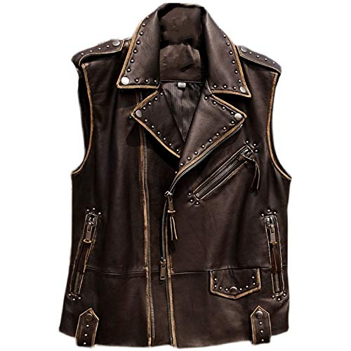 Vintage negro motocicleta estilo cuero abrigo hombres gran tamao piel de oveja primavera slim fit chaleco