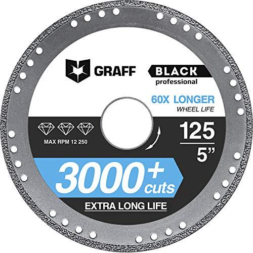 Trennscheibe GRAFF® Black 125mm für Winkelschleifer (Flex), Diamanttrennscheibe für dünnwandig Metall, Metallwinkel, Metallrohre und -profile, Eisen, Guß, Diamant-Rand (125 mm)
