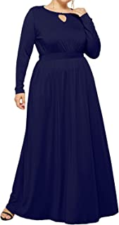 Enggras Women's Plus Size Elastic High Waist Key Hole Long Sleeve Pleated Party Evening Maxi Long Dress