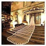 SHOYY 7m Luxury 1T Cathedral Boda Velo Lace Long White Blanco Velo con Peine Velo (Color : White)