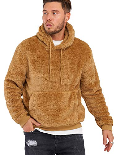 Rello & Reese Herren Teddy-Fell Hoodie mit Kapuze Fleece Pullover Fleecejacke Sweatjacke [Braun, XL]