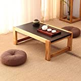 N/Z Home Equipment Tray Edge Top Natural Acacia Wood Coffee Table Solid Wood Coffee Table Bay Window Table Balcony Rectangular Zen Tea Table Under Rack Storage Furniture (Size : 70 * 45 * 30cm)