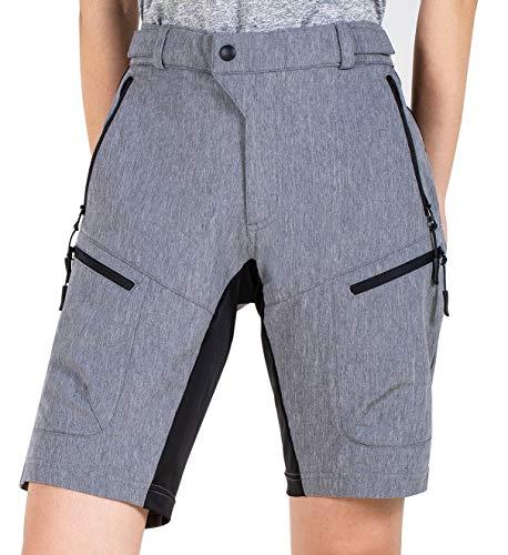 Cycorld MTB Shorts Damen MTB Hose, Lose Passen Radhose Reißverschluss Taschen Fahrradhose Damen Mountainbike Shorts (Grau, M)