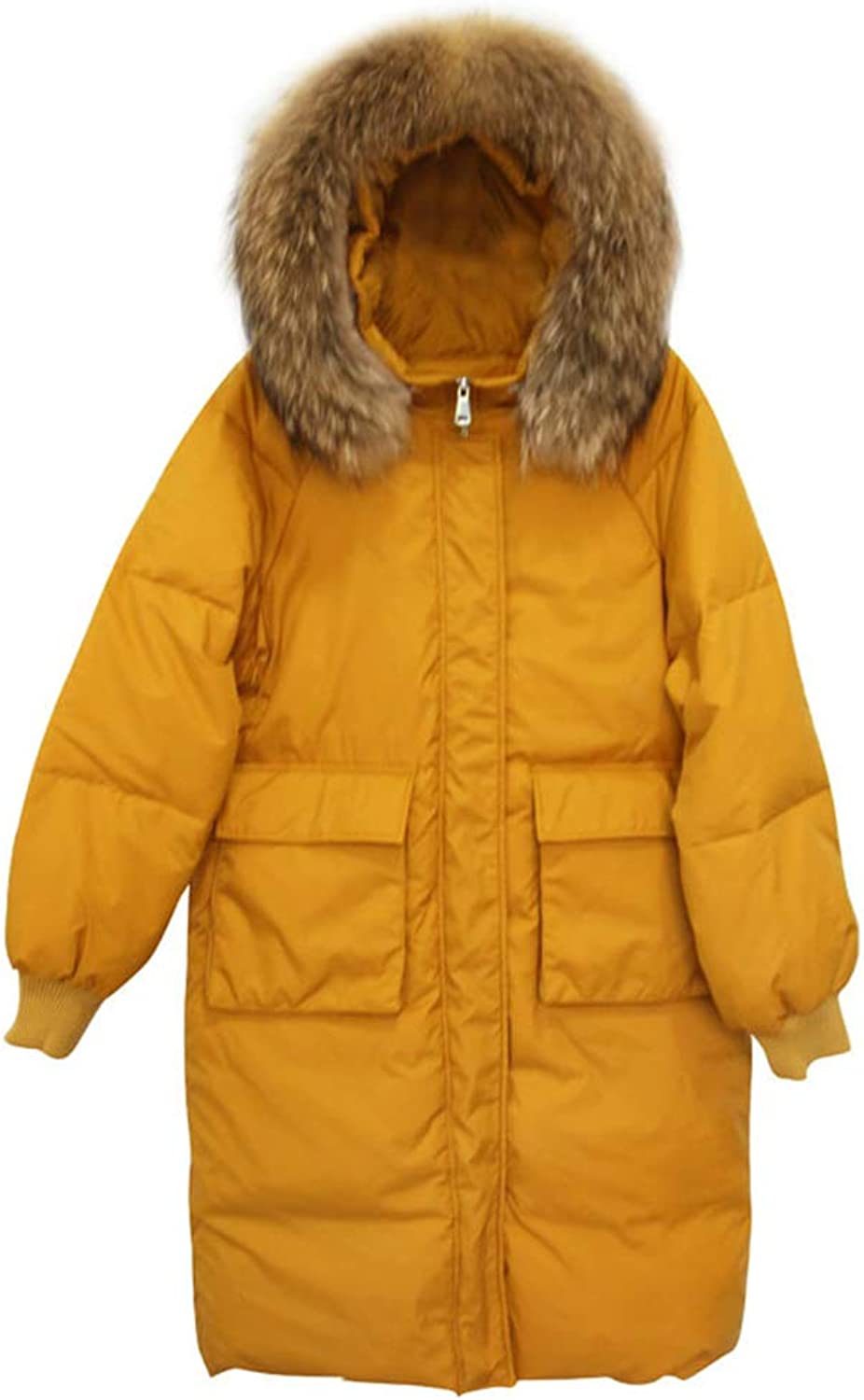 LQYRF Ladies Fur Collar Yellow Down Jacket Zipper Loose 51%  55% White Duck Down
