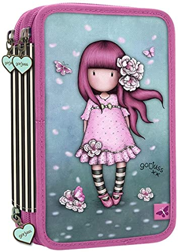 Estuche escolar compatible con Santoro Gorjuss London de 3 pisos, completo con cremallera para niña de las rosas, incluye bolígrafo de regalo, 6 colores en 1 + llavero de abril
