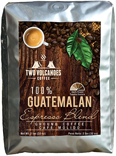 Two Volcanoes Ground Coffee - Dark Roast Espresso Blend - 2 lb bag - Guatemala Delicious...