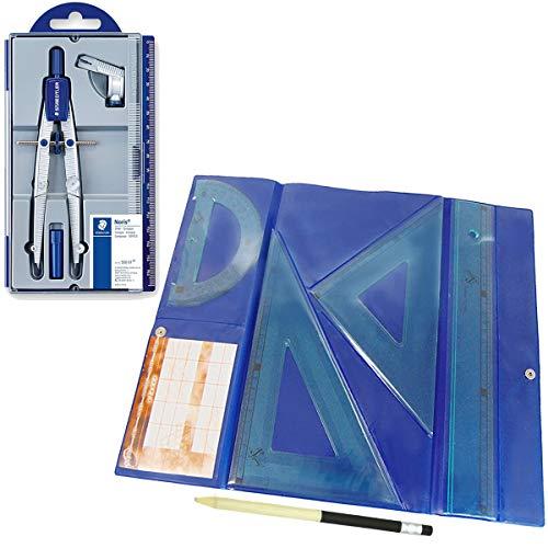 Lote Estuche 550 Bigotera compás escolar de precisión Staedtler Noris Club + Estuche tecnic Juego de Regla 30 cm, escuadra y cartabón de 25 cm + REGALO