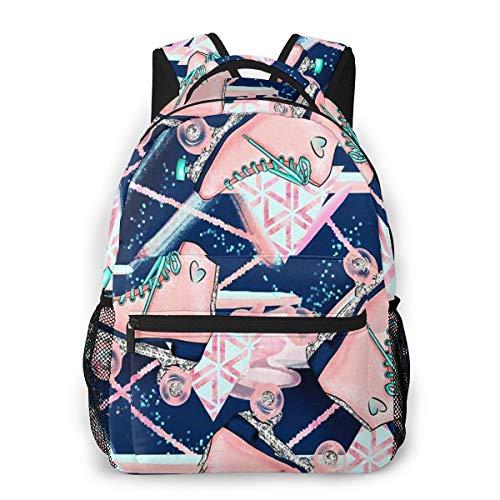 Rucksack Männer Und Damen, Laptop Rucksäcke für 14 Zoll Notebook, Rollschuhe Blush Navy Kinderrucksack Schulrucksack Daypack für Herren Frauen