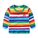 Mud Kingdom Toddler Boys T-Shirts Long Sleeve Rainbow Stripe 24 Months