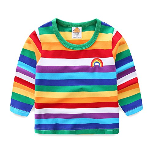 Mud Kingdom Niños Bebes Camisetas Raya del Arco Iris Manga Larga Verde 6-12 Meses
