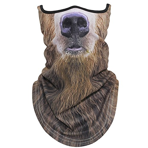 AXBXCX Animal 3D Prints Neck Gaiter Warmer Half Face Mask Scarf Windproof Dust UV Sun Protection for Skiing Snowboarding Snowmobile Halloween Cosplay Russian Brown Bear