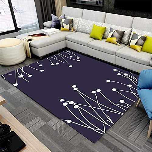 Rugs For Children Blue Living Room Carpet Dark Blue Simple Plant Pattern Simple Carpet Durable Rugs For Kids 200X300CM Rug Anti Slip 6ft 6.7''X9ft 10.1''