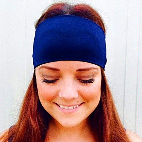 Cinta de yoga para mujer y niña, ancha, elástica, para correr, fitness, para yoga, baloncesto, correr, fútbol, tenis, color azul, tamaño talla única
