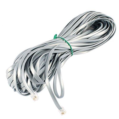 sourcingmap 19,8 m RJ12 6P6 C Fiche mâle Plat Ligne téléphonique câble Cordon Gris