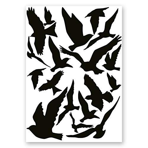 18er Aufkleber-Set Vogelschutz und Fensterschutz I hin_287 I Vogel-Silhouette als Schutz für Vögel, Glas-Tür, Fenster-Scheibe, Wintergarten