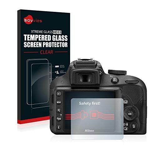 savvies Protector Cristal Templado Compatible con Nikon D3300 Protector Pantalla Vidrio, Protección 9H, Pelicula Anti-Huellas