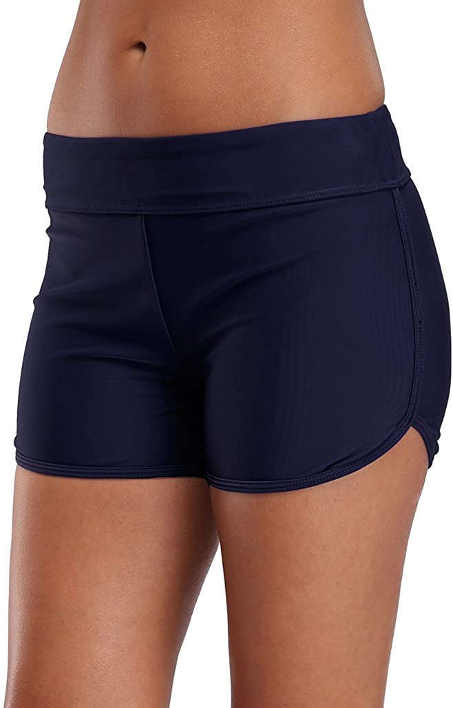 SOCIALA Women's Sporty Swim Shorts Solid Board Shorts Boyleg Swim Bottoms