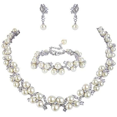EVER FAITH® österreichischen Kristall CZ künstliche Perle edel Hochzeit Schmuckset Halskette Ohrclips Silber-Ton N06562-2