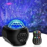 Projecteur Étoile LED, Lampe de Veilleuse Étoilée & Projecteur de Vagues Océaniques, Commande à Distance Haut-parleur Bluetooth pour Enfants Adultes Cadeaux Maison Soirée Décoration (01)