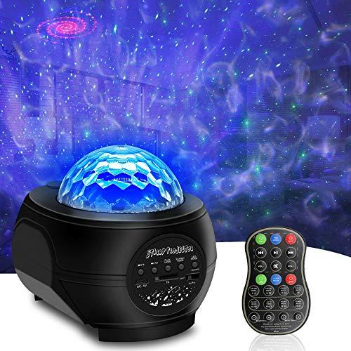 Sternenhimmel Projektor, LED Sternenlicht Projektor Lampe Erwachsene, Kinder mit Fernbedienung und Bluetooth Lautsprecher, Wasserwellen-effekt für Party, Geburtstag, Weihnachten, Ostern