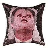 Merrycolor The Office Throw Pillow Cover Dwight Schrute Mask Sequin Pillowcase Mermaid Decorative Cushion Cover Funny Gag Gifts 16 X 16 Inch